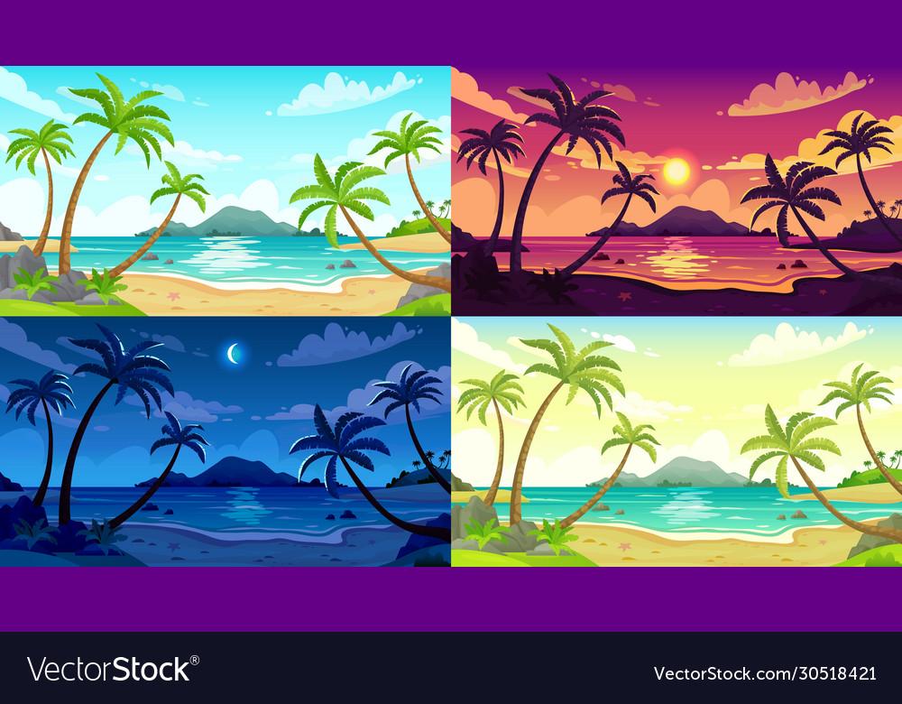 Daytime beach landscape sunny day seascape night