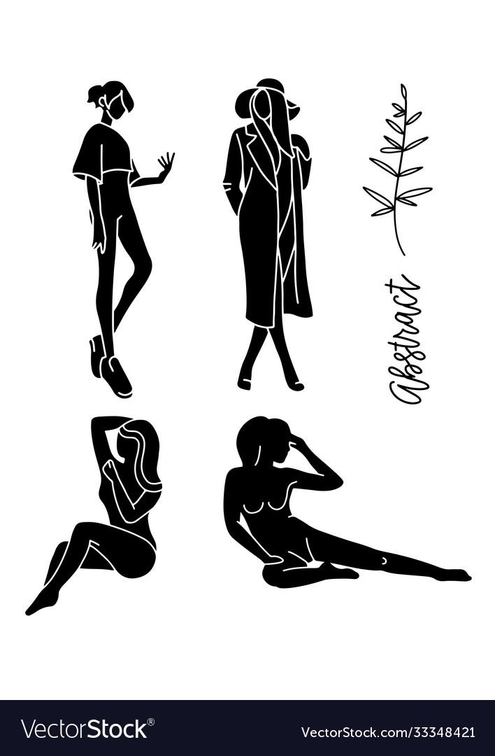 Fashion models sketch hand drawn stylized
