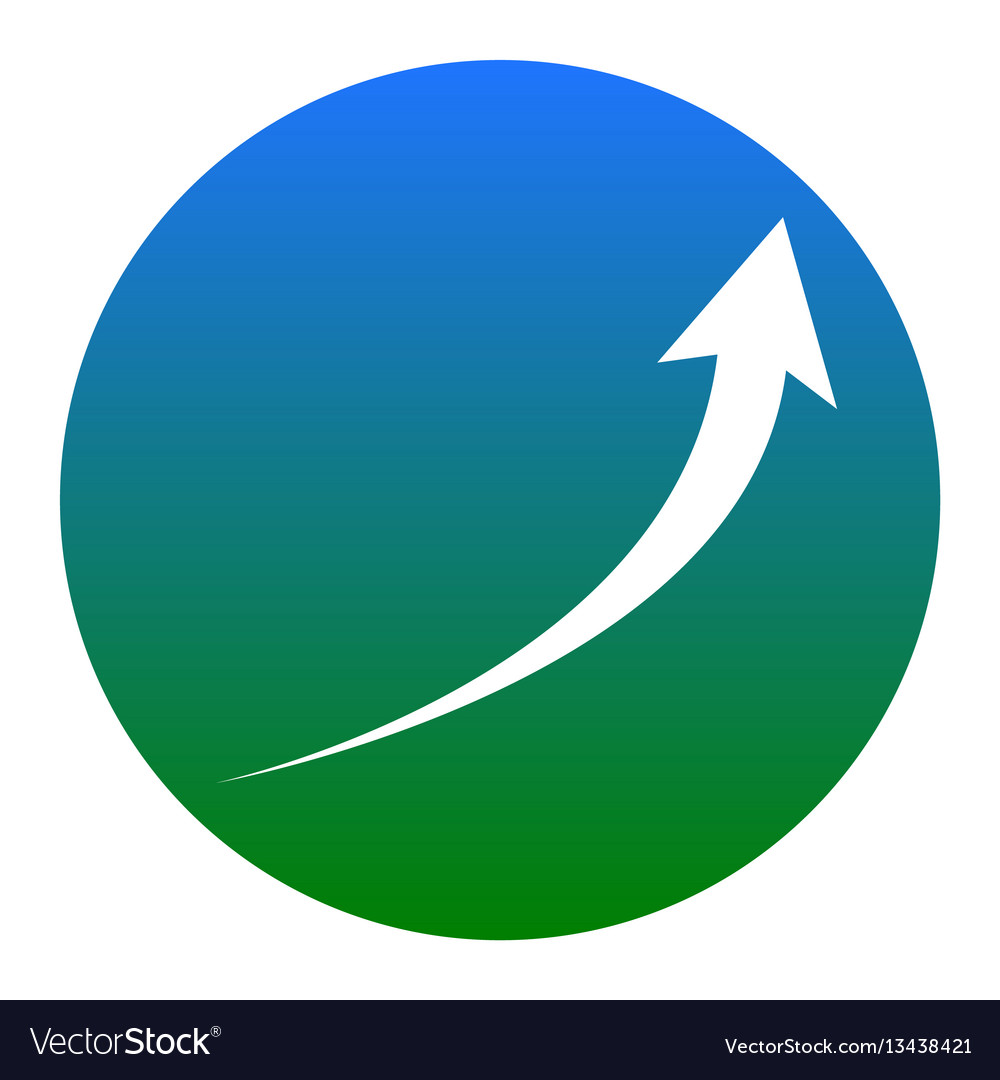 Growing arrow sign white icon in bluish vector image