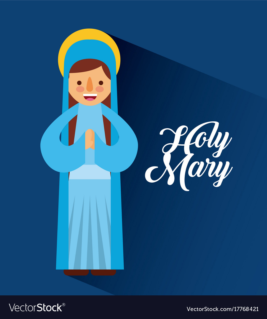 Holy mary mother blessed christmas cartoon Vector Image