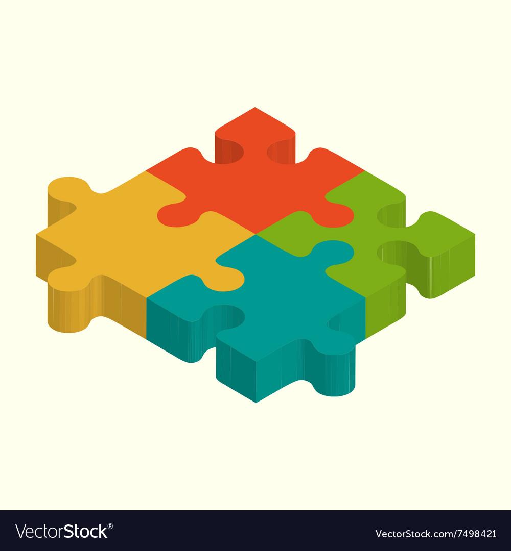 Puzzles 3D Logo Puzzle Design Vector Image