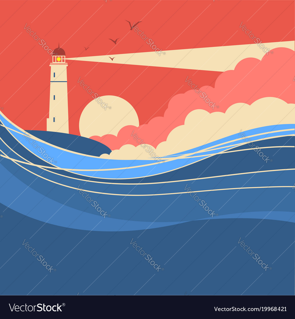Sea waves with lighthouse nature poster of