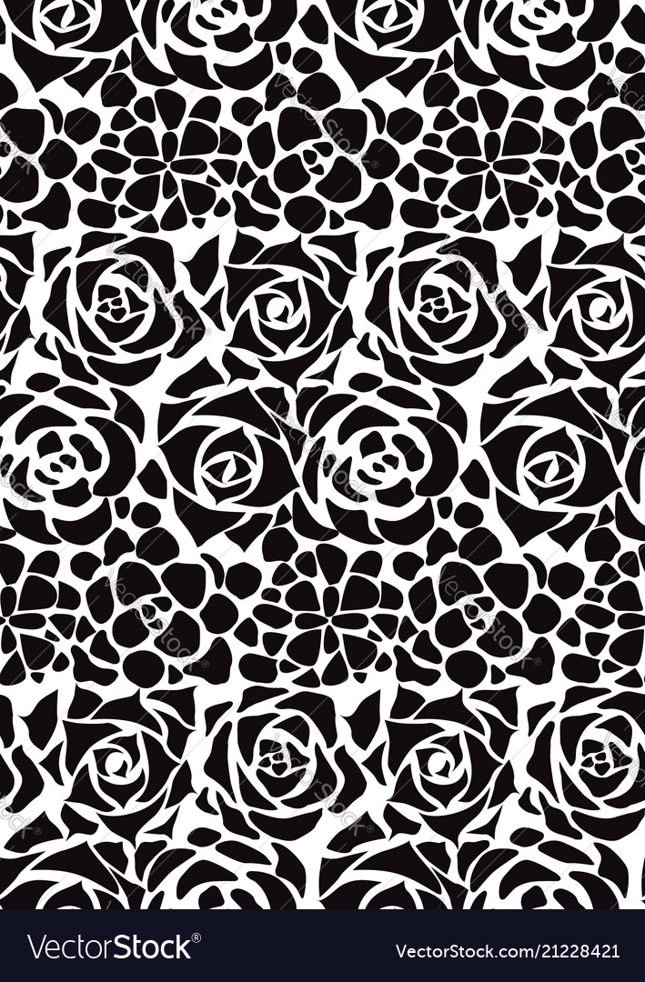 Seamless black and white texture with flat