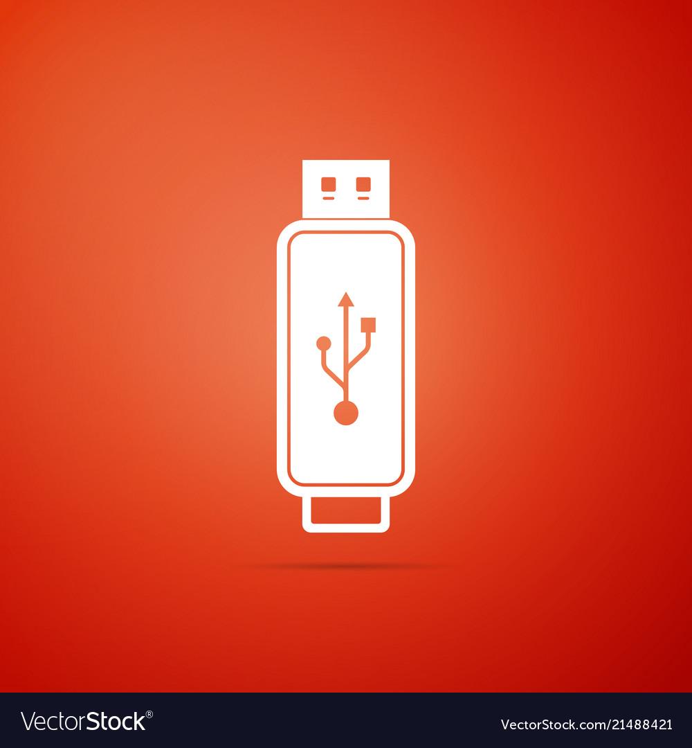 Usb flash drive icon isolated on orange background