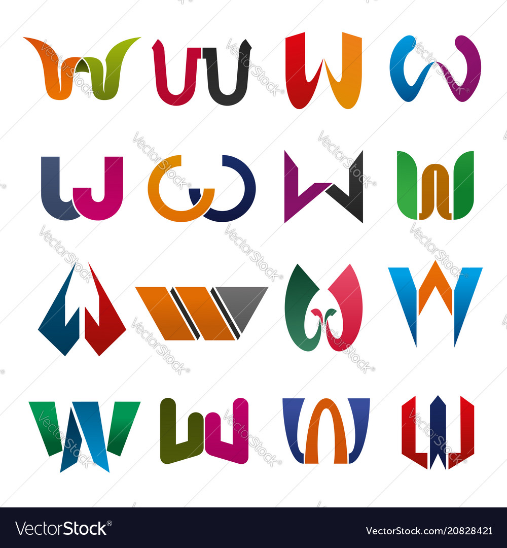 W letter icons for brand company