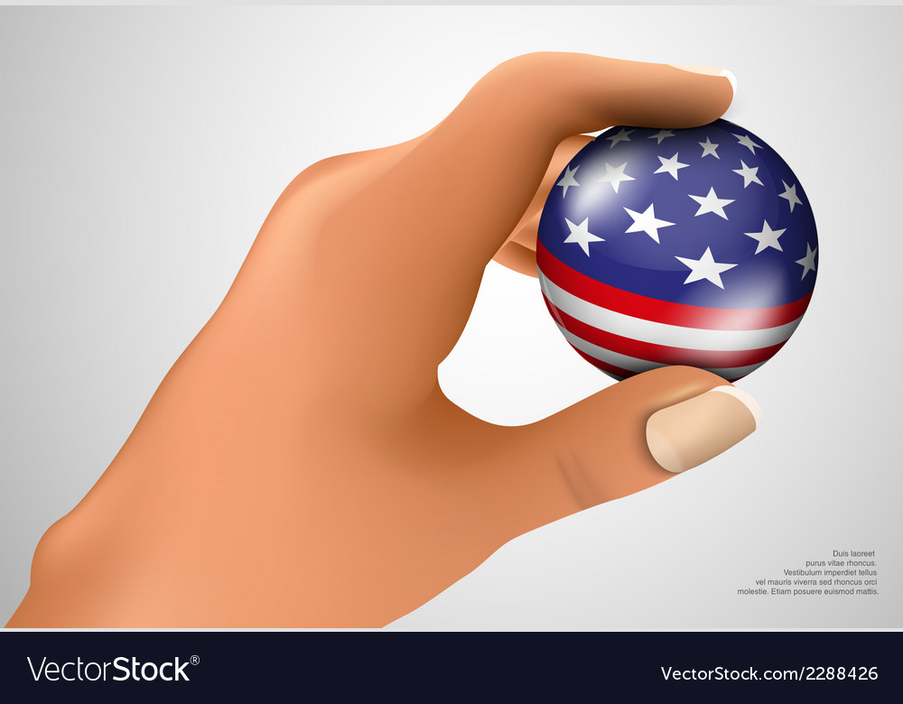 American flag with ball