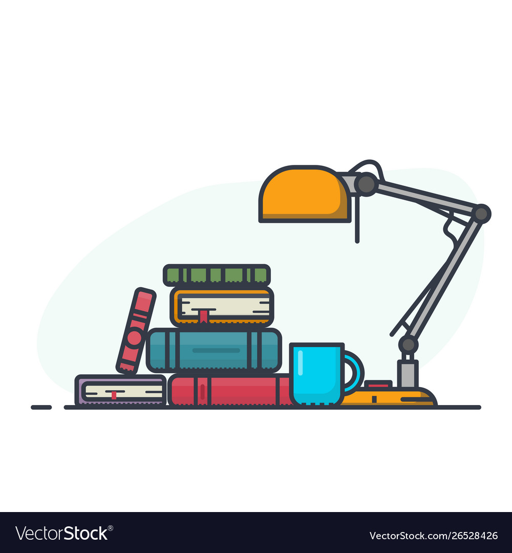 Book pile and lamp