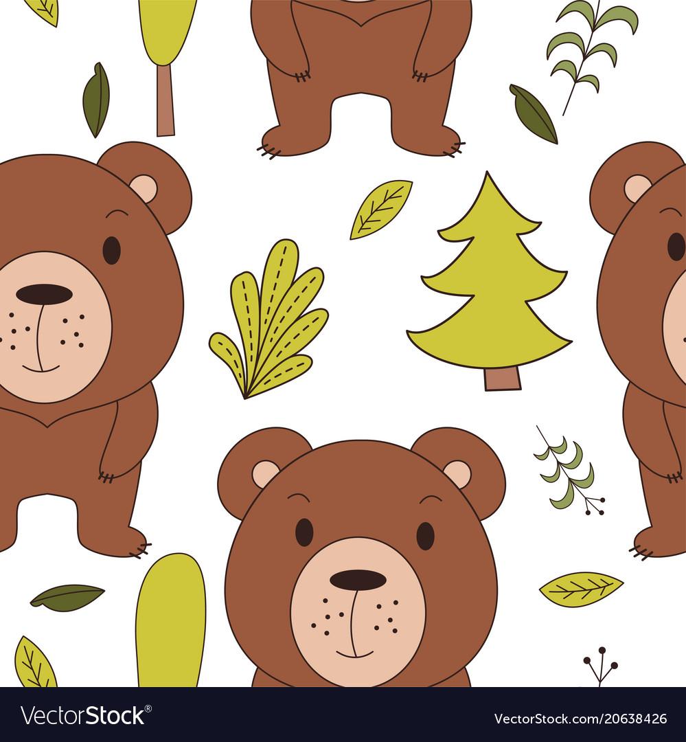 Cute woodland animals in cartoon style seamless