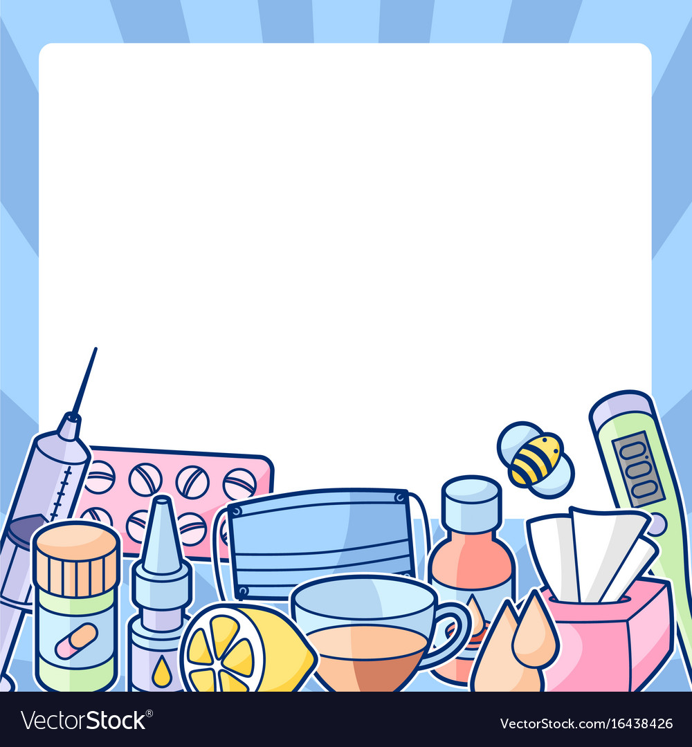 Frame with medicines and medical objects