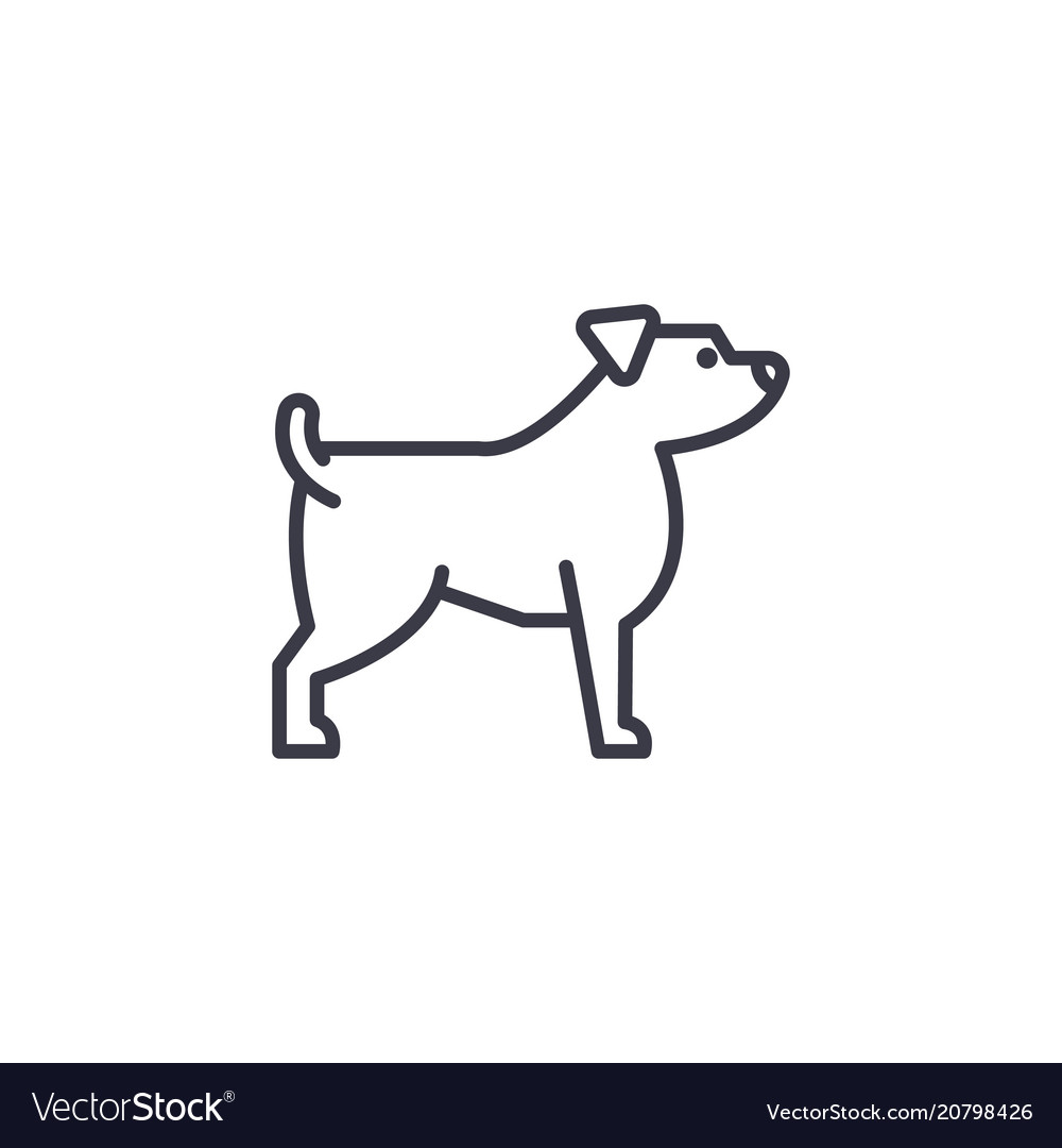 Jack russell terrier line icon sign