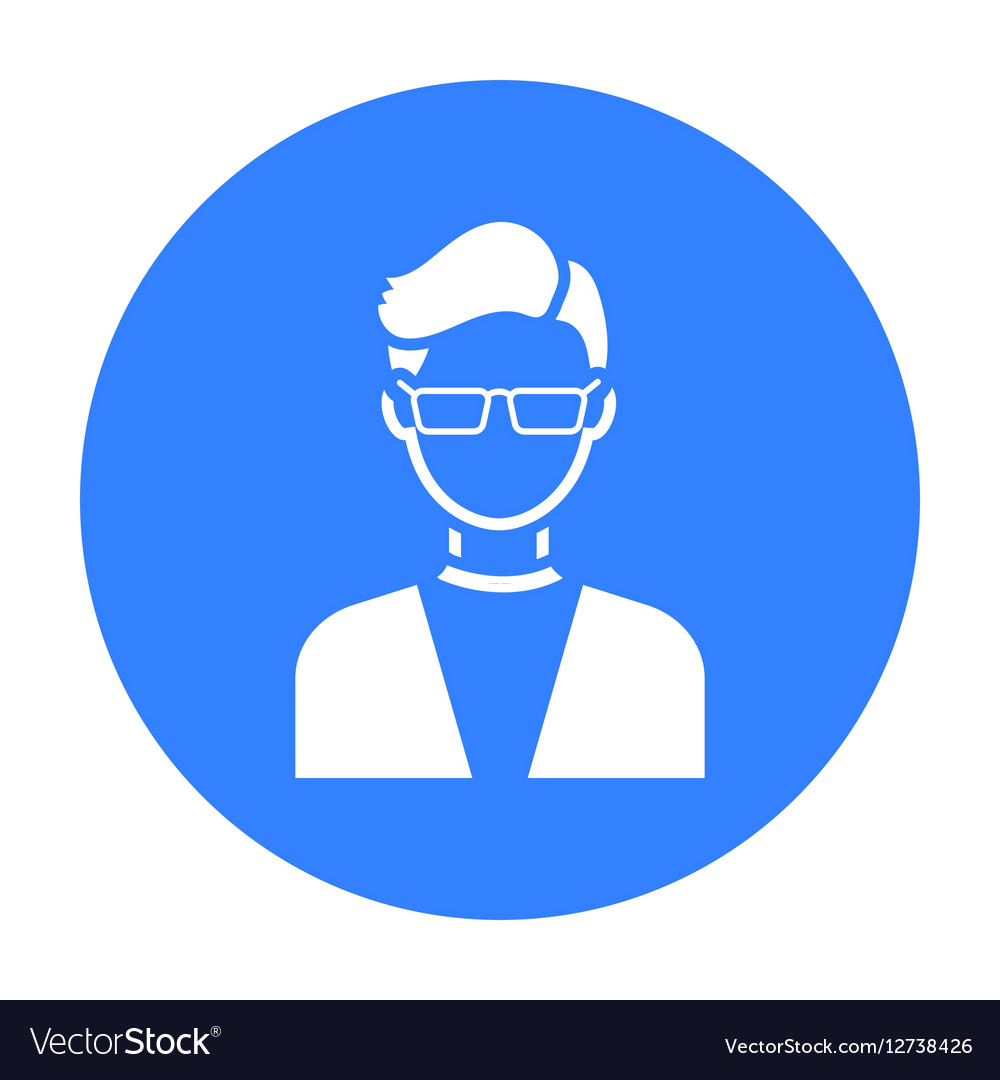 Man with glasses icon black Single avatarpeaople