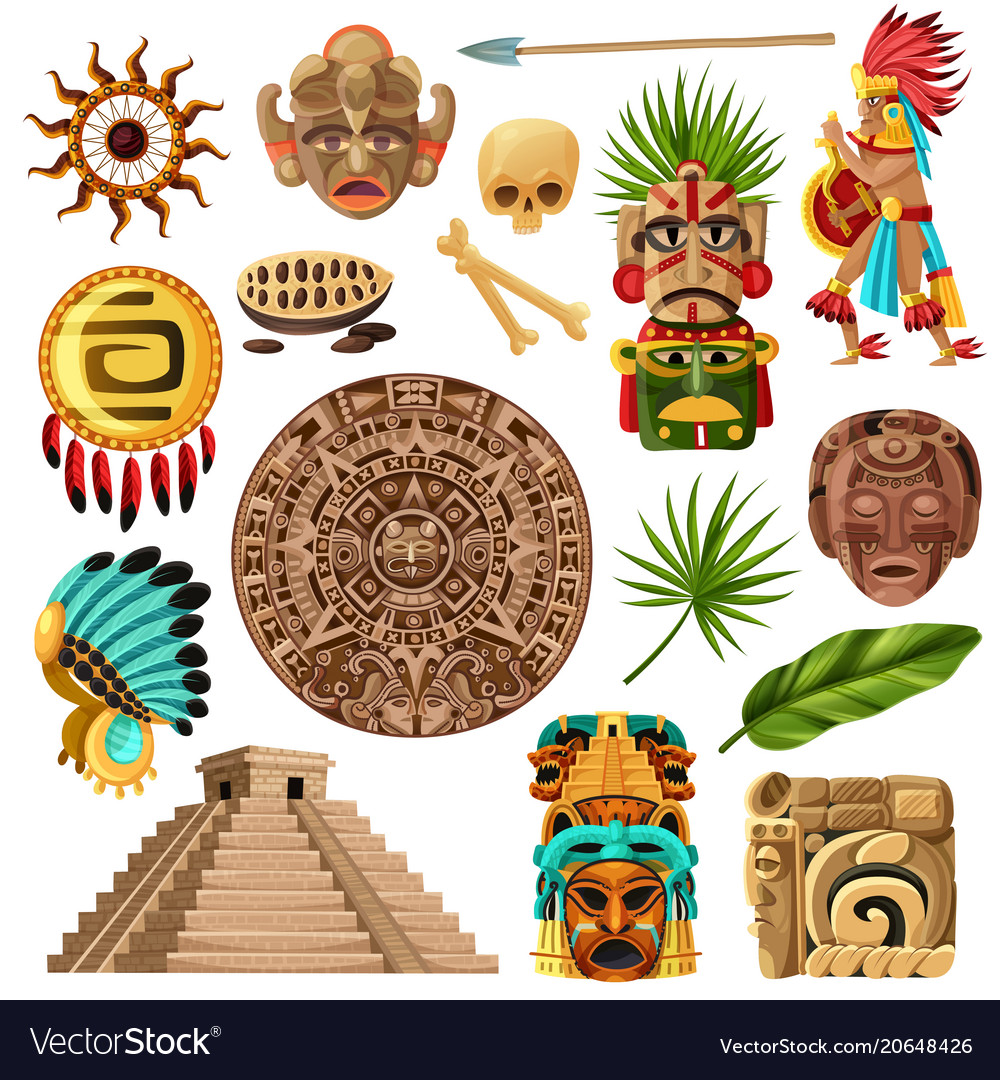 Mayan traditional cartoon set vector image