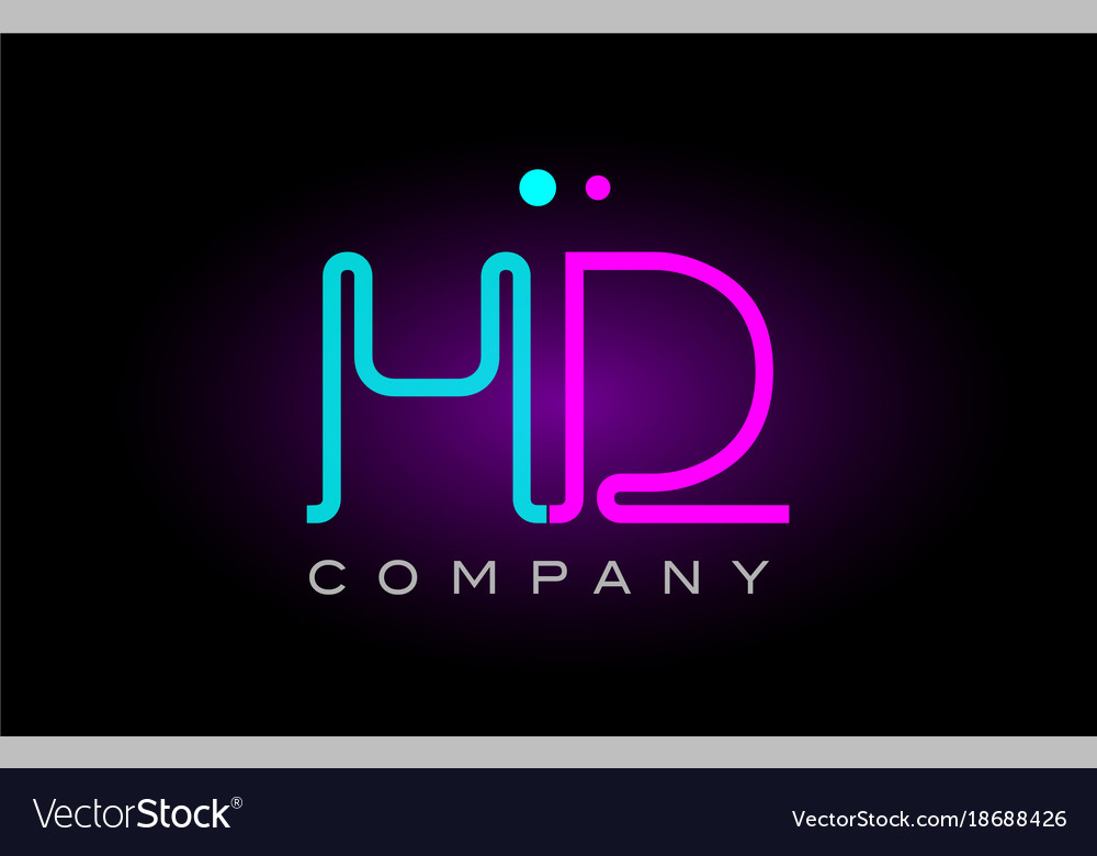 neon lights alphabet hd h d letter logo icon vector image