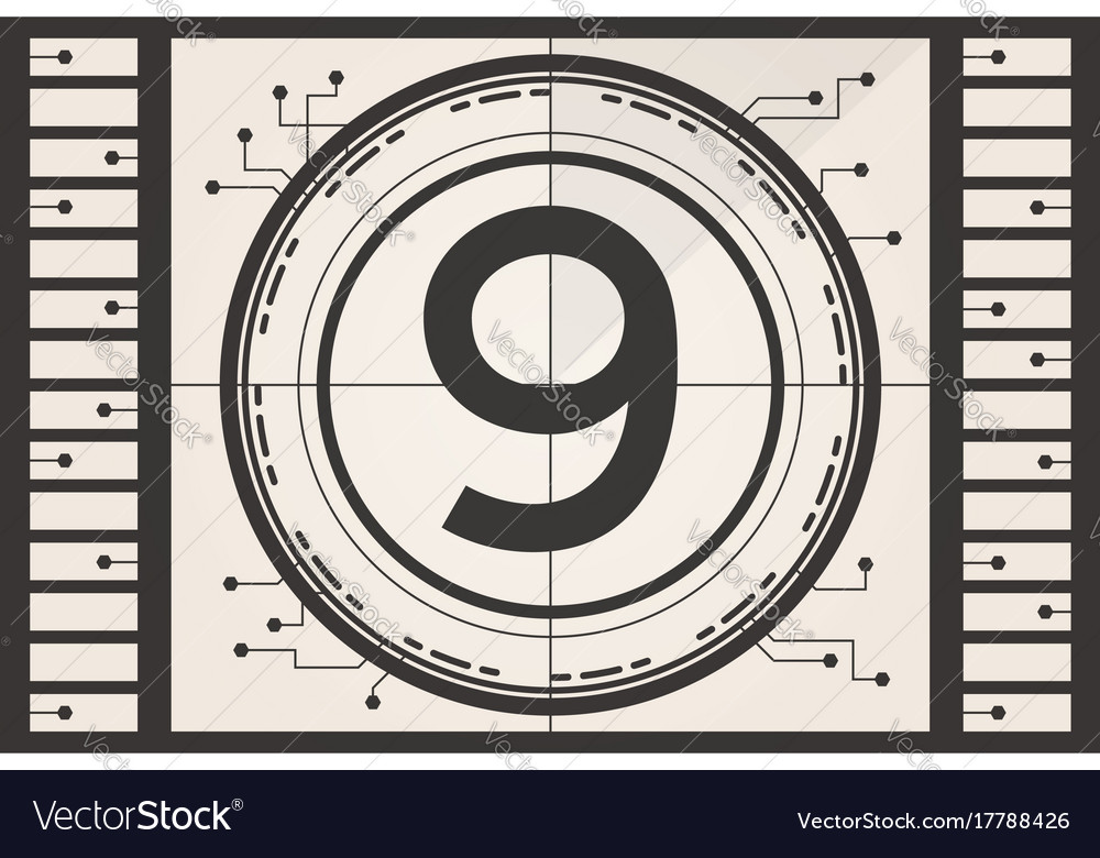 Old film movie countdown frame