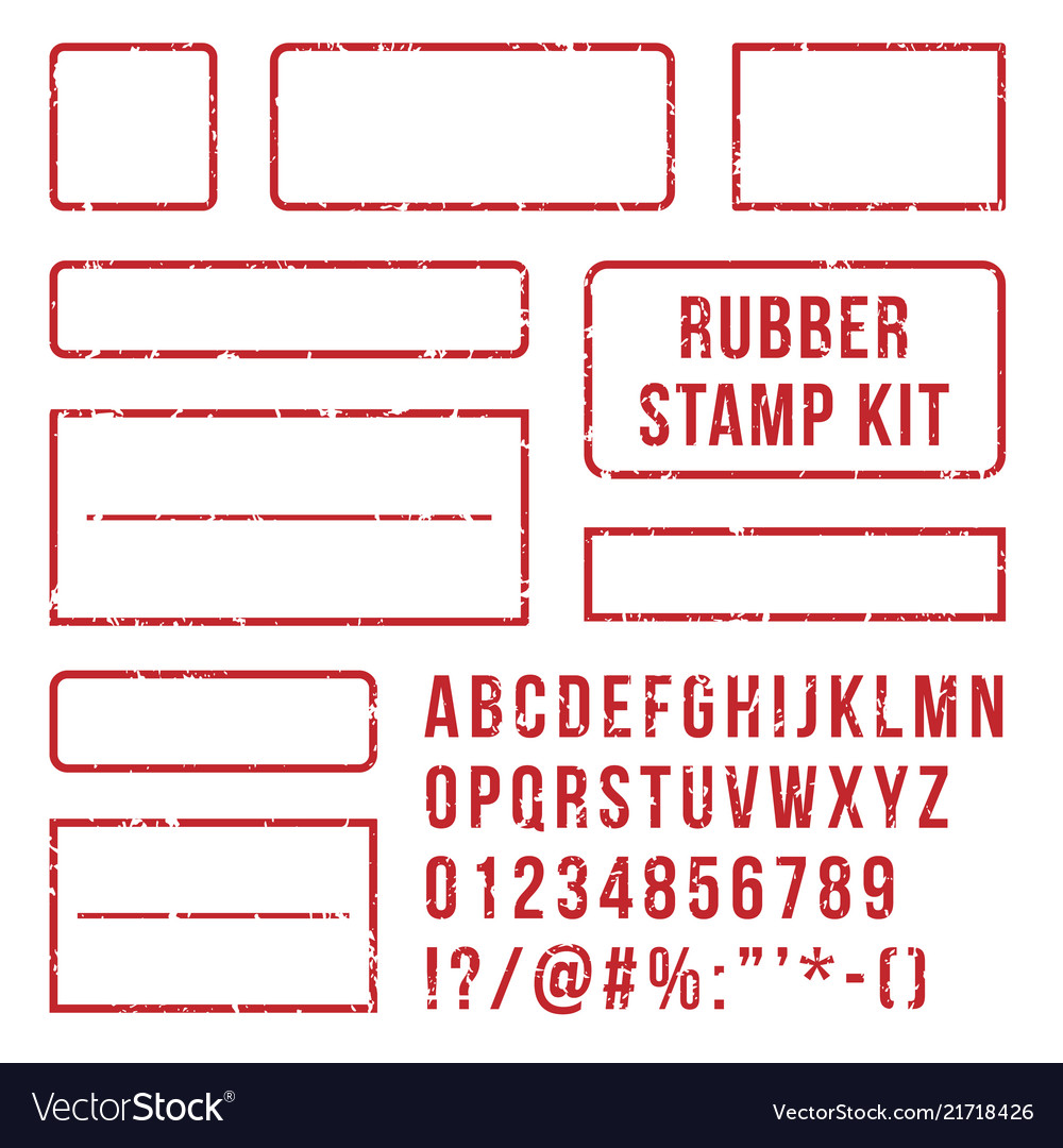Rubber stamp letters red stamps frame and