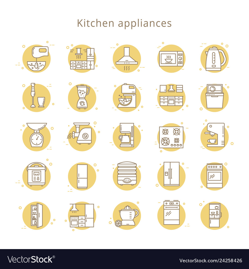 Set of kitchen appliances icons in line style