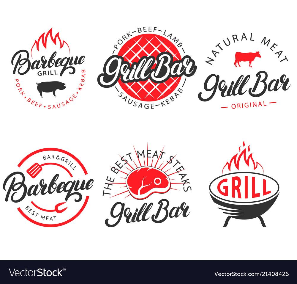 Set vintage grill bar bbq labels emblems