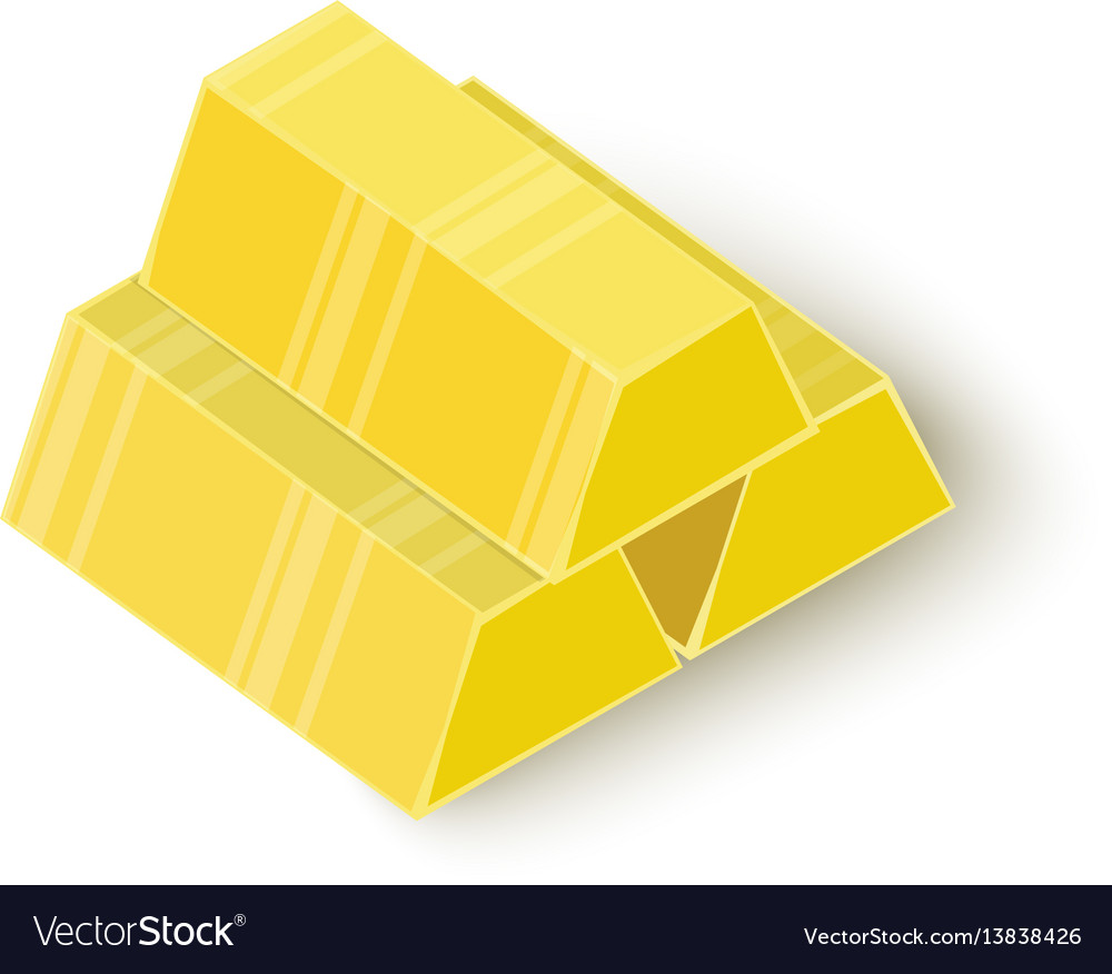 Three gold bars icon isometric 3d style vector image