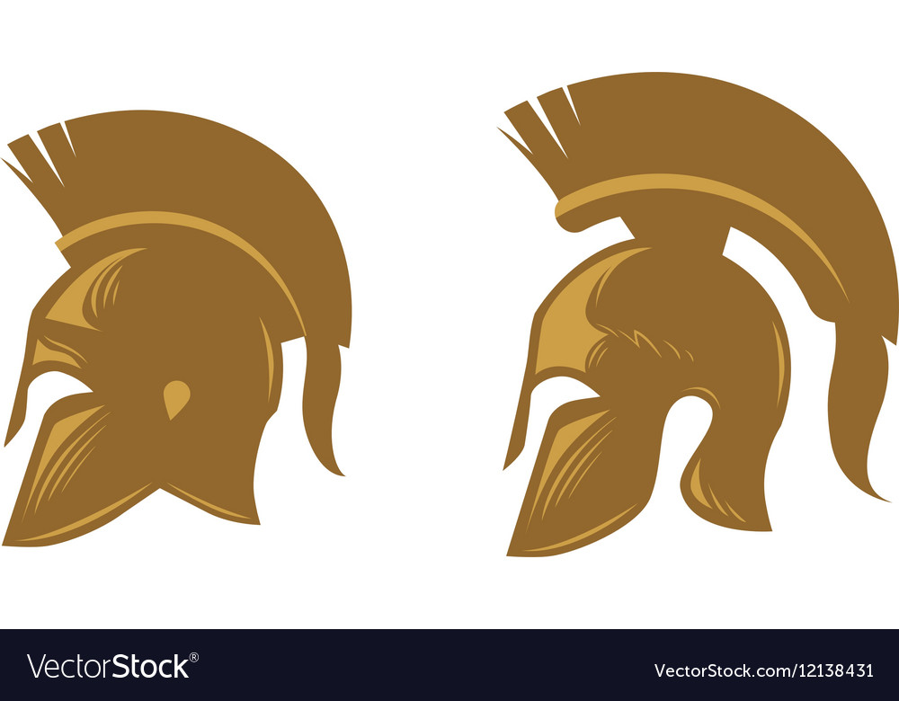 Ancient spartan helmet with feathered crest