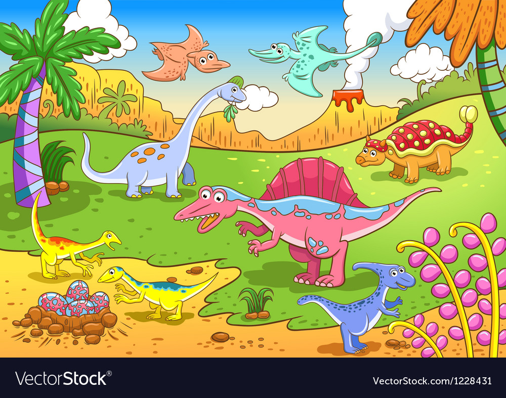 cartoon dinosaur background royalty free vector image