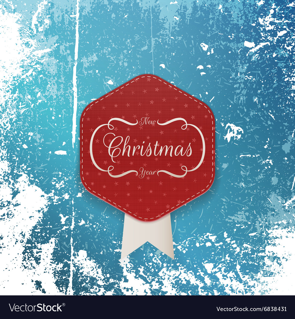 Christmas greeting paper Label and white Ribbon