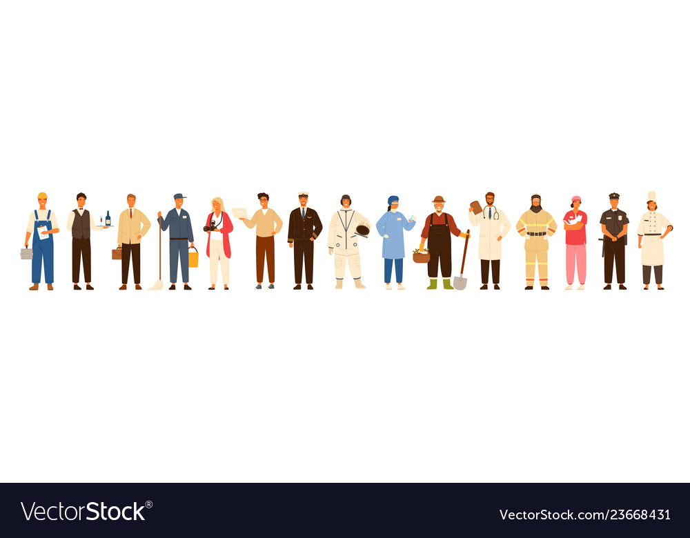 Collection of men and women of various occupations