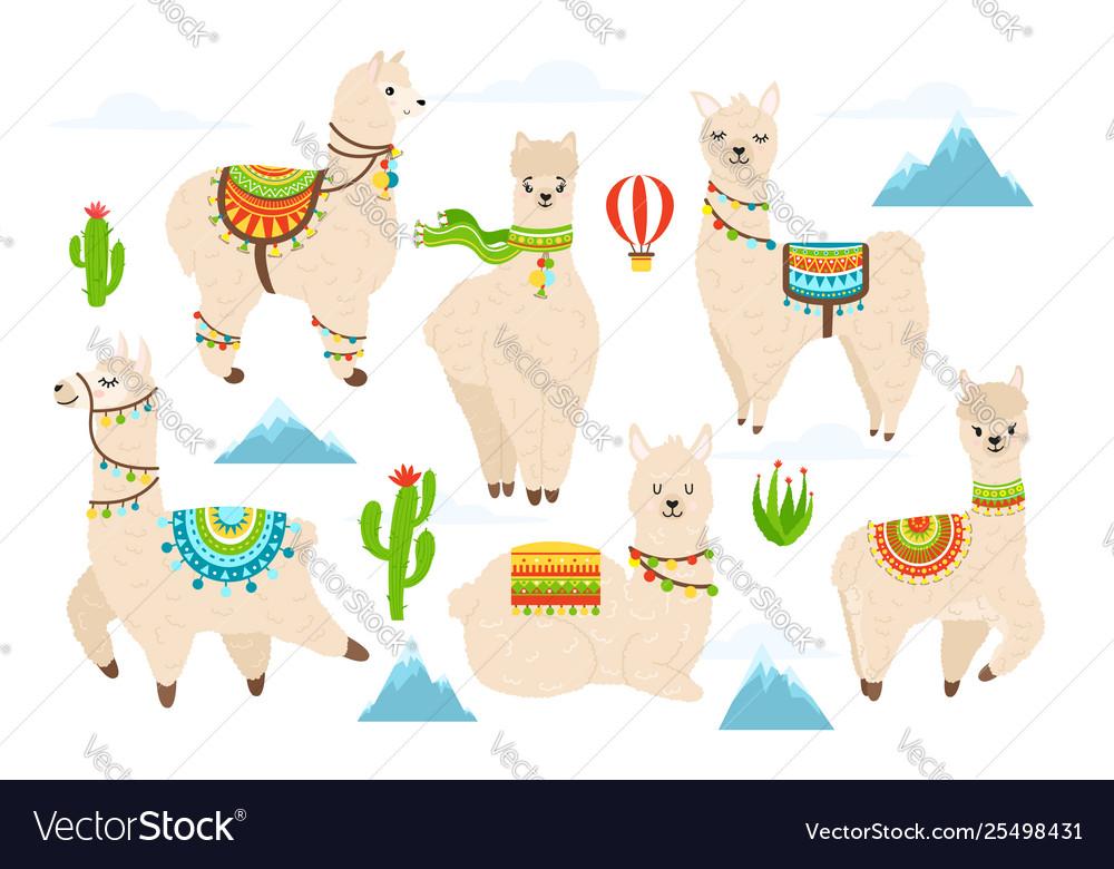 Cute alpaca and llama witn mountains