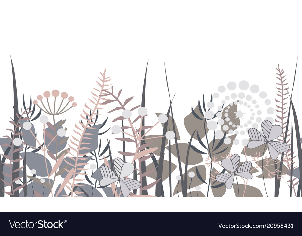 Decorative floral border with forest elements