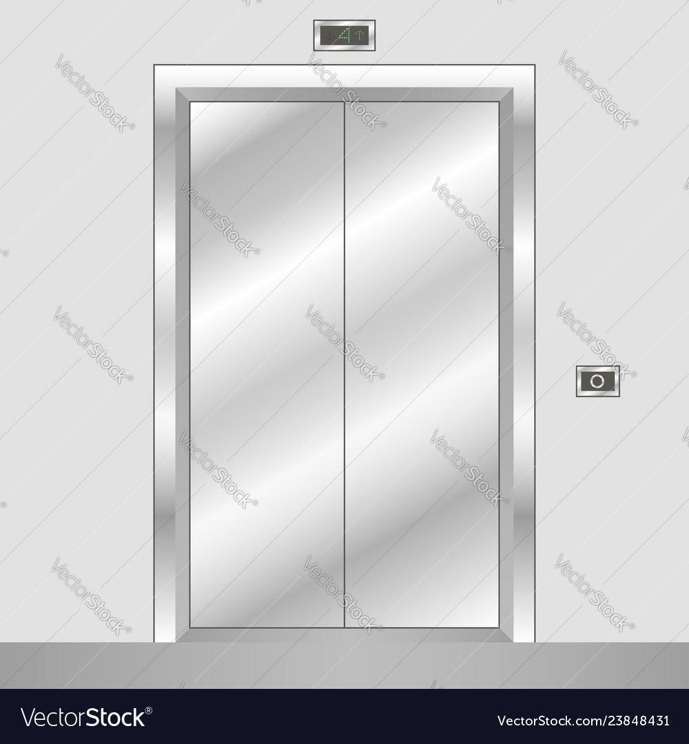 Metal elevator with closed doors