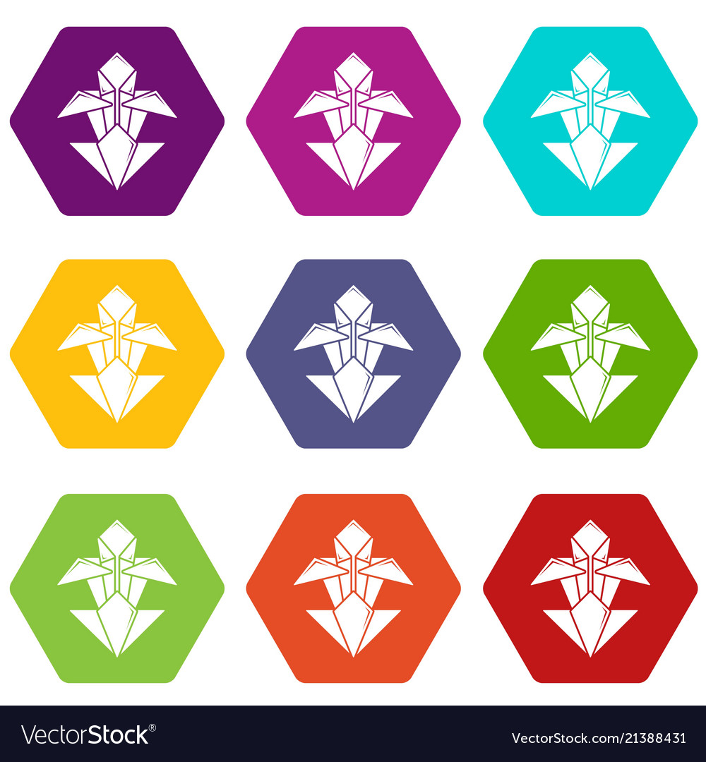 Origami Flower Icons Set 9 Royalty Free Vector Image