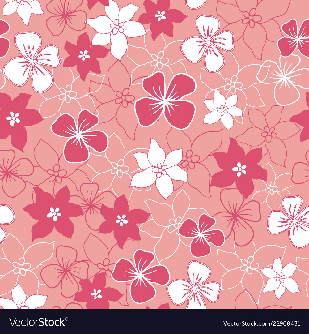 Pink and white flower mix seamless pattern