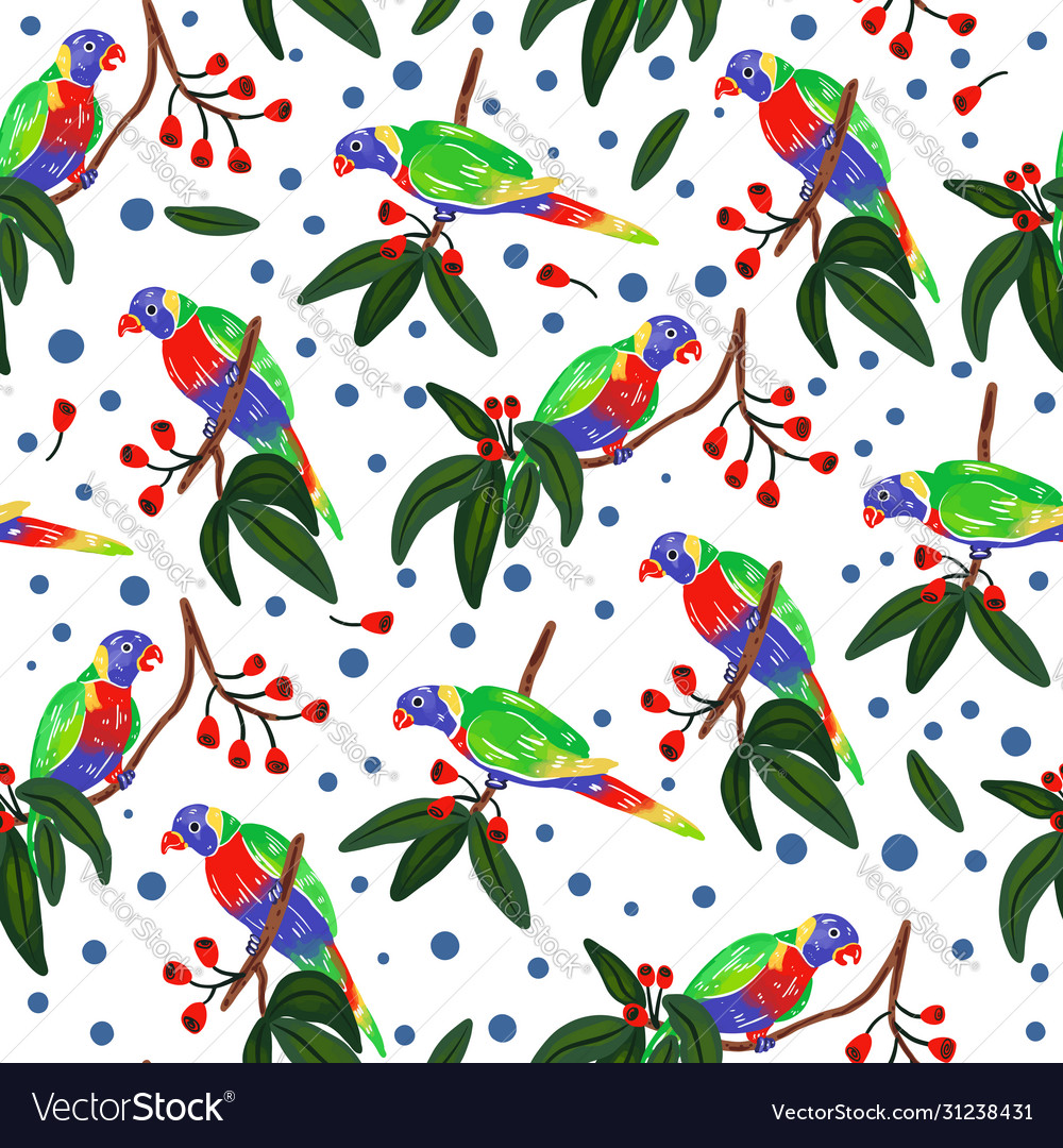 Seamless pattern with parrot forest pattern
