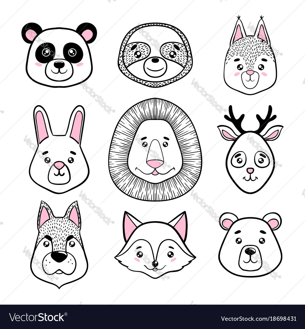Set cute animal faces black white panda