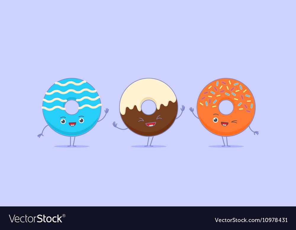 Three kawaii donuts
