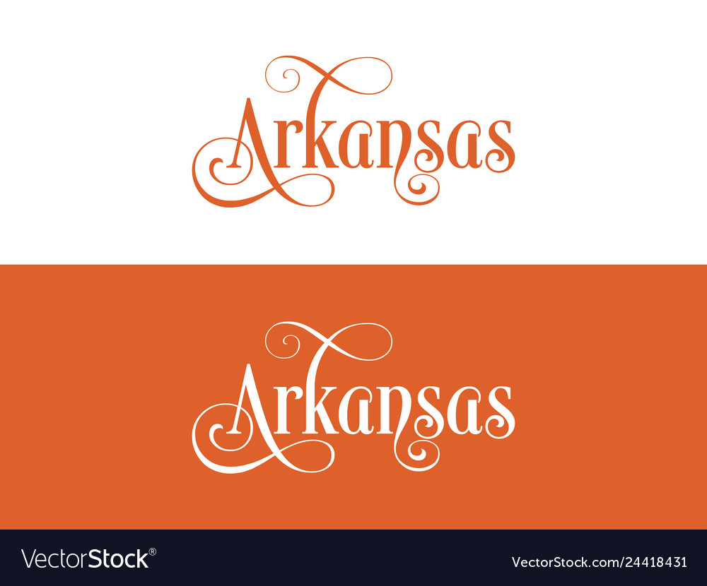 Typography of the usa arkansas states handwritten