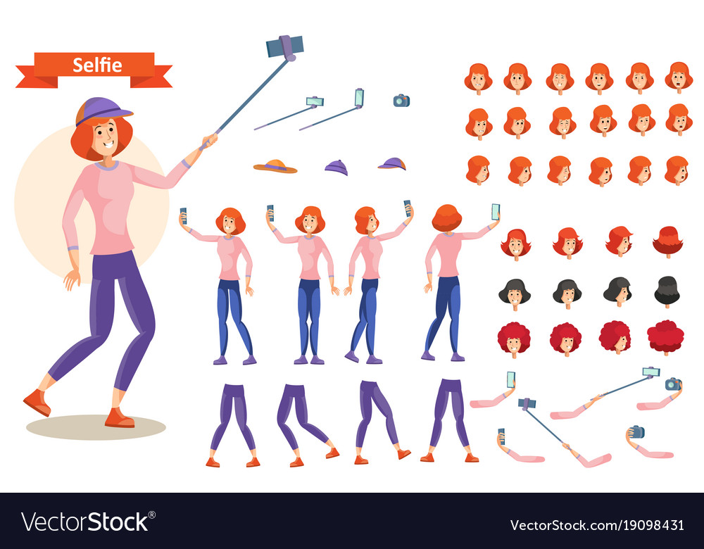 Young woman doing selfie character creation set