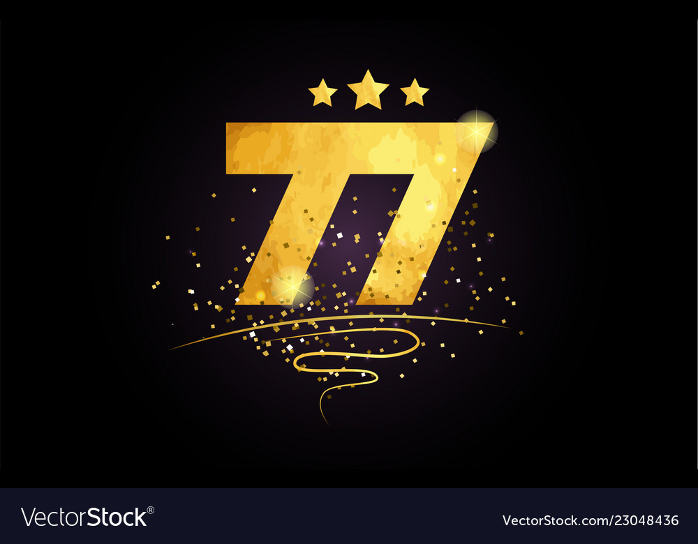 77 number icon design with golden star and glitter