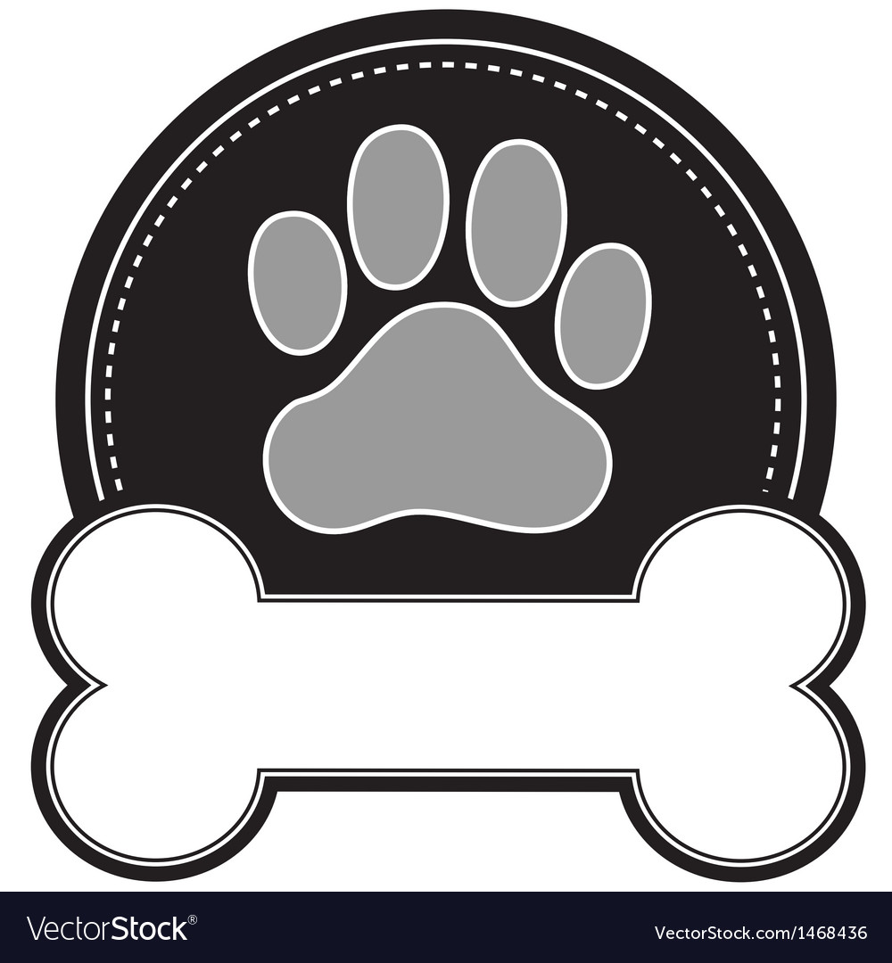 dog bone and paw royalty free vector image vectorstock rh vectorstock com dog bone cartoon wallpaper dog bone cartoon wallpaper