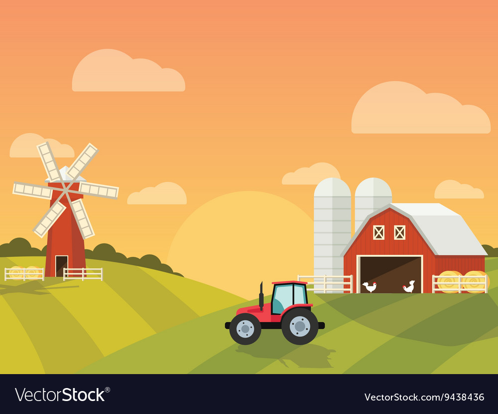 Farm with a mill and tractor in the green hills