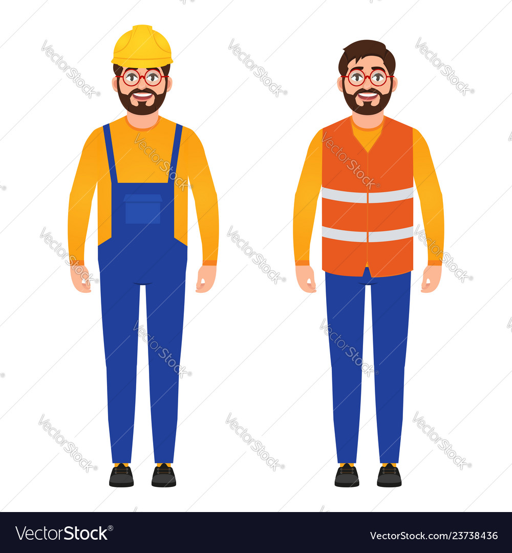 Happy builder bearded man dressed in construction