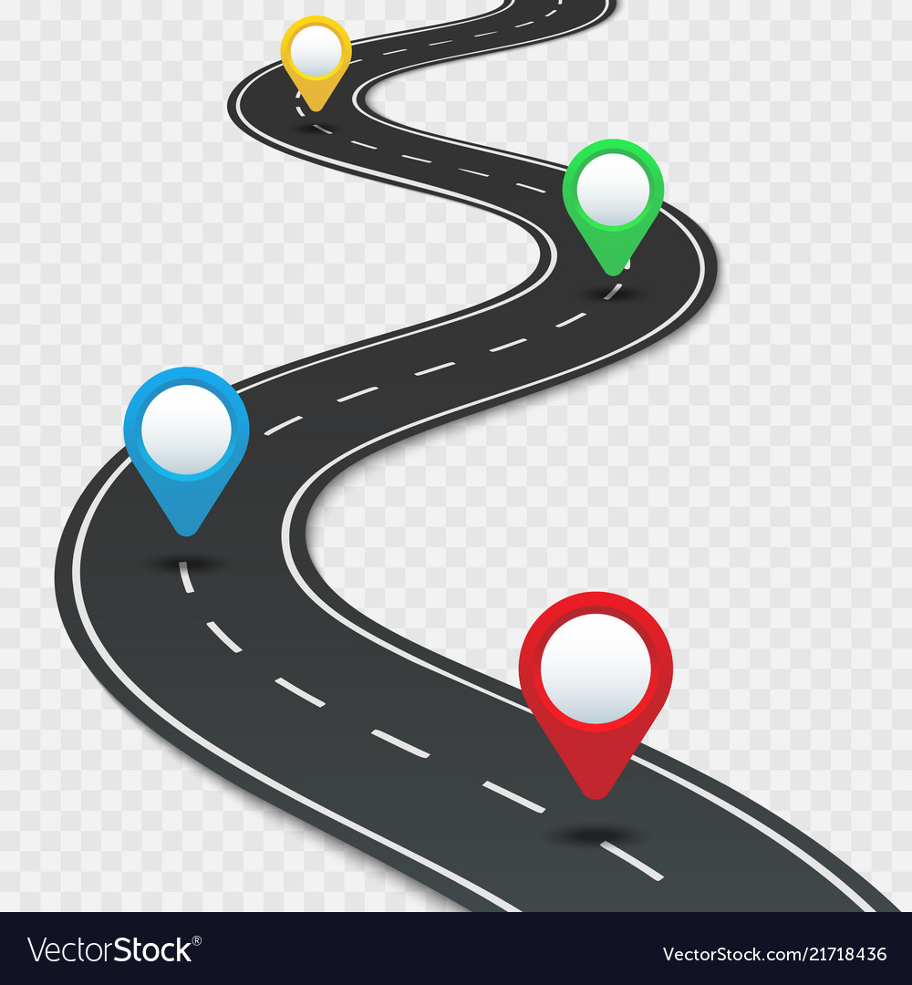 Highway roadmap with pins car road direction gps