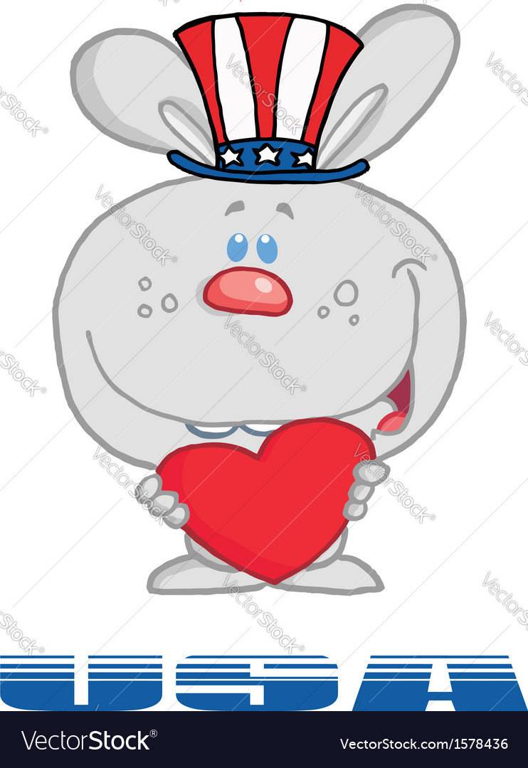 Patriotic rabbit cartoon