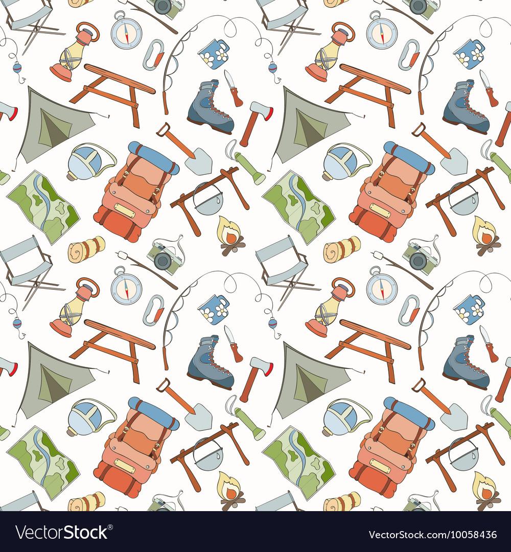 Seamless camping pattern