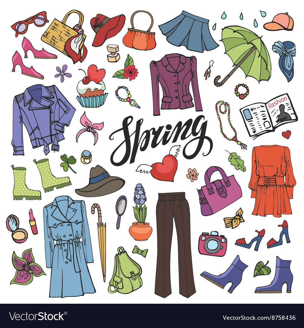 92cb0c80ca25 Spring fashionColored Womens wear Royalty Free Vector Image