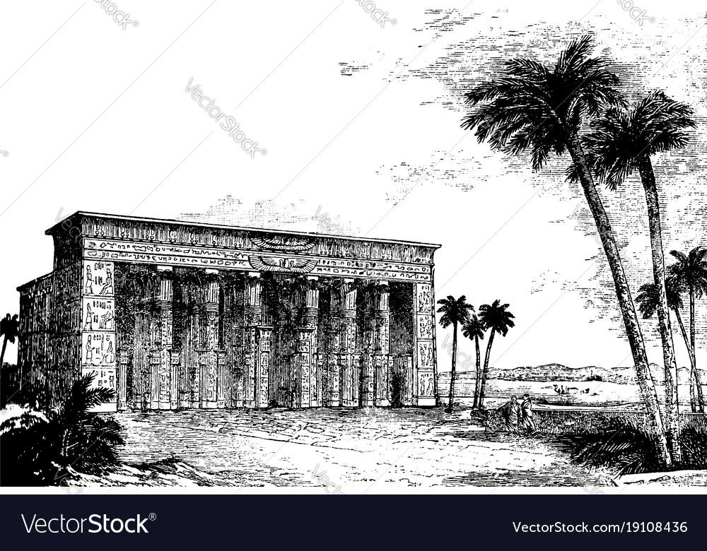 Temple restored vintage engraving vector image