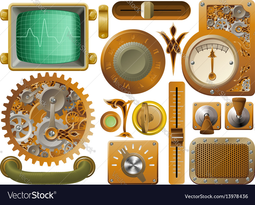 Victorian steampunk design elements vector image