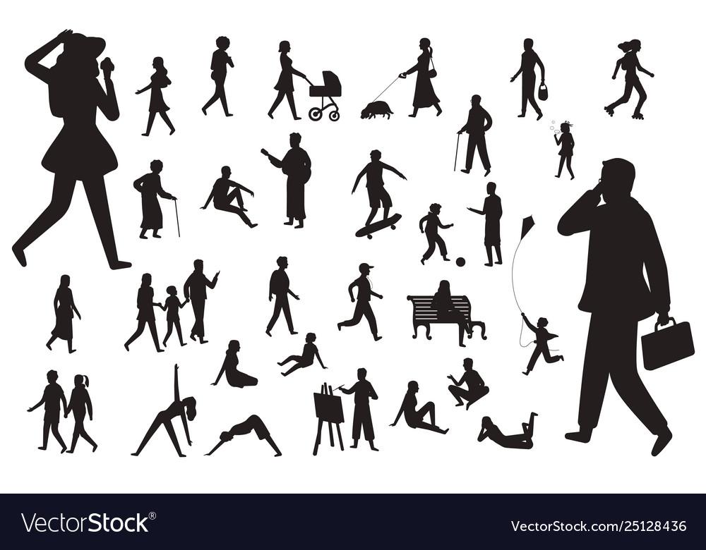 Walk people silhouette black figures happy
