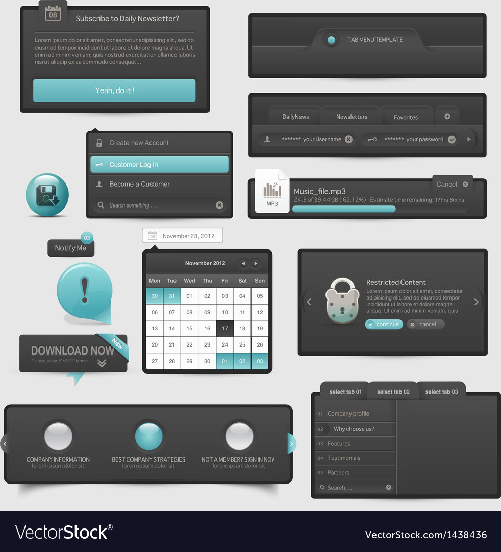 Website template UI elements vector image