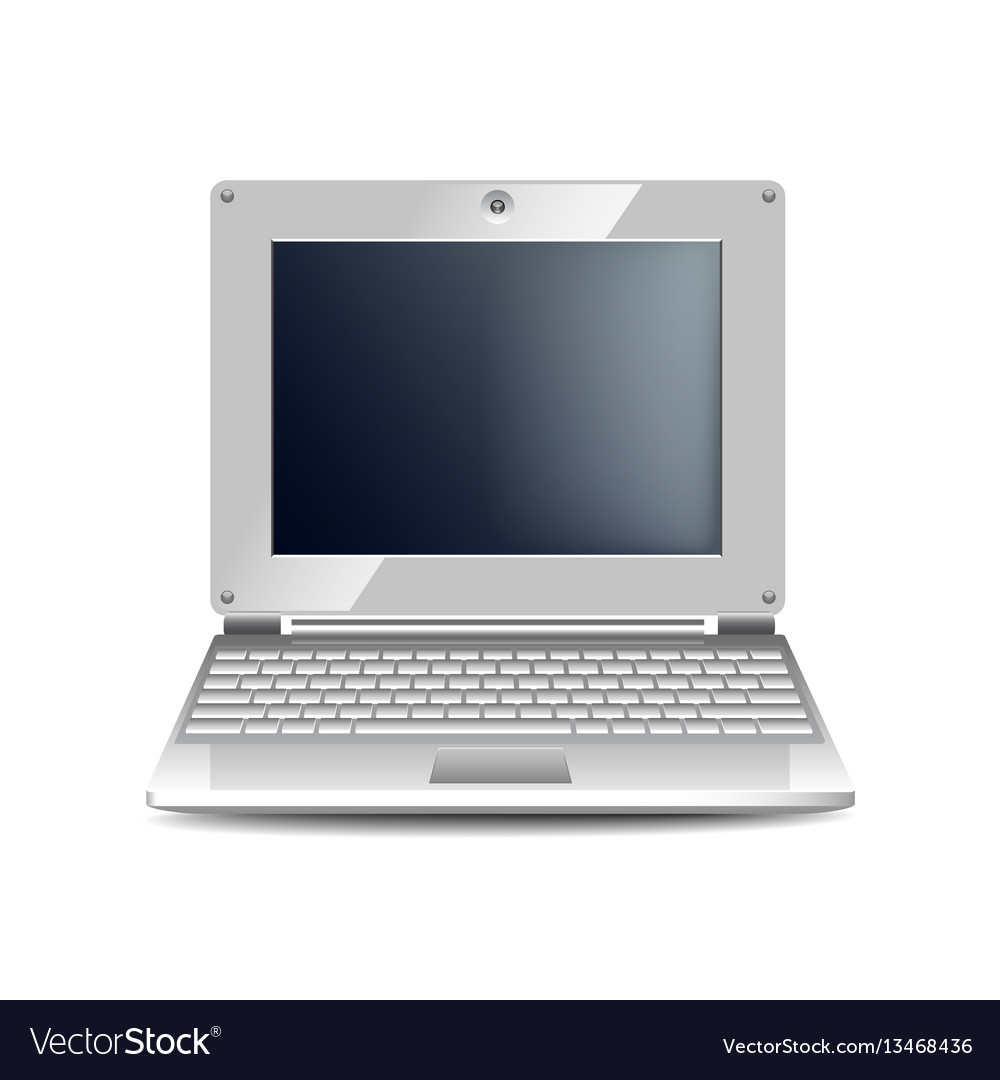 White netbook isolated on white