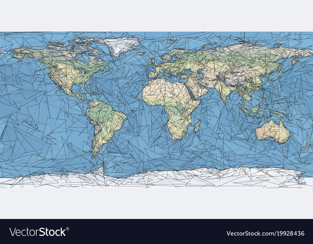 World map artistic low poly triangulated